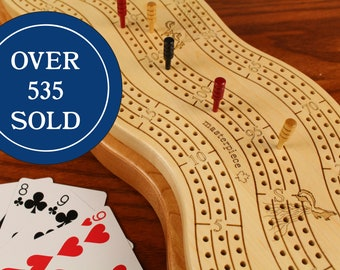 """Best Cribbage Board, 3 player Premium  Cribbage Board, 16.5""""L  x  6""""W  x  2""""H, Two Tier, Maple Top/Cherry Bottom, Laser Engraved, Paul Szewc"""