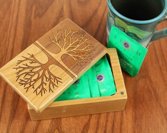 Tree of Life Pattern, Wooden Storage Box, Free Shipping 5-3/8 x 3-3/8, Solid Cherry - Laser Engraved, Paul Szewc, Masterpiece Gallery