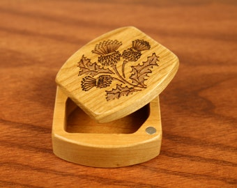 Mini Storage Box - Scottish Thistle Pattern Wooden Box, Solid Cherry, 1-3/4