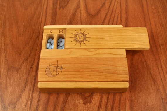 Day and Night Weekly Pill Boxes, Sun and Moon, Medium Depth, Solid Cherry Hardwood Top and Bottom, BEEWAX FINISH