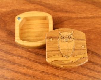 Mini Storage Box - Owl Pattern Wooden Box, Solid Cherry, 1-3/4