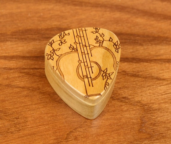 """DISCONTINUED - REDUCED PRICE Guitar Pick Box, 2-1/4"""" x 2"""" x 1 D"""", Vines Deep, Solid Cherrywood, Laser Engraved, Paul Szewc"""