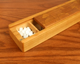 JUMBO Weekly Pill Box, Leaves Pattern Solid Cherry Hardwood, Paul Szewc, Masterpiece Laser