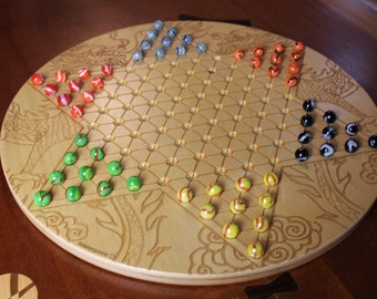 """High Quality Large Chinese Checkers w 16mm/5/8"""" designer Marbles- Dragon Pattern Laser Engraved,  18 5/8"""" Dia x 5/8"""" thick,  Paul Szewc"""