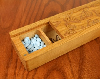 JUMBO Weekly Pill Box, Butterflies Pattern Solid Cherry Hardwood, Paul Szewc, Masterpiece Laser