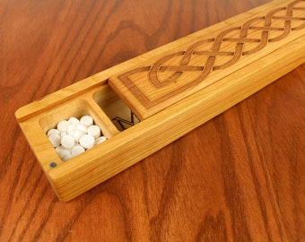 JUMBO Weekly Pill Box, Celtic Knot Pattern Solid Cherry Hardwood, Paul Szewc, Masterpiece Laser