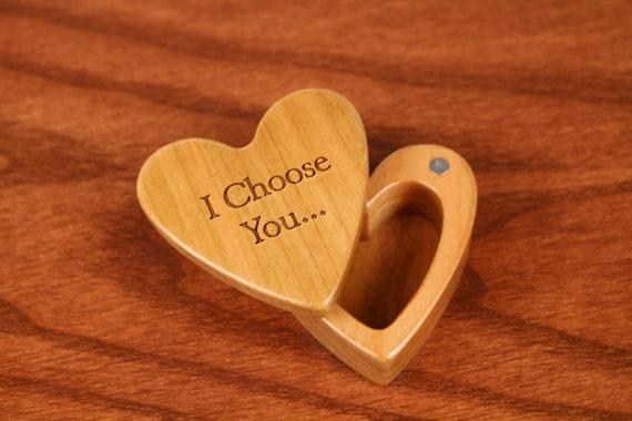 "I Choose You Heart Shaped Box, 2-1/4""  x  2-1/4"" X 1"" d, Solid Cherry Wood, Laser Engraved, Paul Szewc"