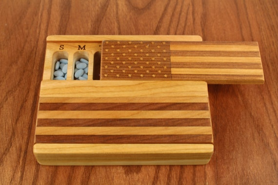 Day and Night Weekly Pill Boxes, American Flag, Medium Depth, Solid Cherry Hardwood Top and Bottom, Food Safe Mineral Oil and Beeswax Finish
