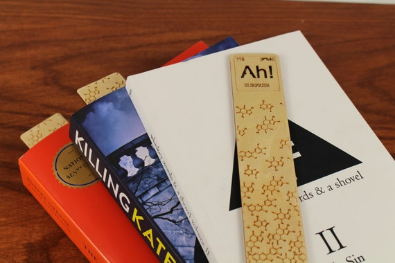 """Periodic Table of Elements, """"Ah!"""", Element of Surprise, Element 119, Wooden Bookmark,  Russian Birch, Laser engraved, Paul Szewc"""