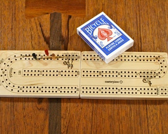 Solid Maple Travel Cribbage Board 2 player Premium Quality, Folded Size 6 1/2