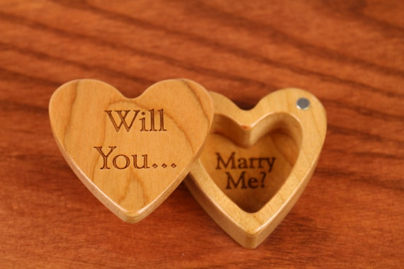 "Engagement Heart Shaped Box, 2-1/4""  x  2-1/4"" X 1"" d, H29 Deep, Solid Cherry Wood, ""Will You... Marry Me?"", Paul Szewc"