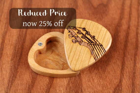 """DISCONTINUED - REDUCED PRICE Slender Guitar Pick Box, Fret, 2-1/4"""" x 2"""" x 3/4""""D, Solid Cherrywood, Laser Engraved, Paul Szewc"""