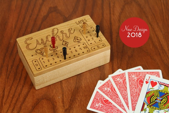 Euchre Counter, Solid Wooden Cherry Euchre Counter Set -Laser Engraved,  Paul Szewc, Masterpiece Gallery, No Quote