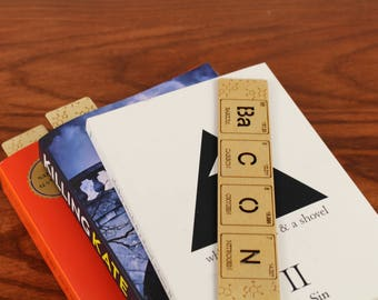 Bacon, Periodic Table of Elements, Wooden Bookmark, Birch Wood, Laser Engraved, Paul Szewc