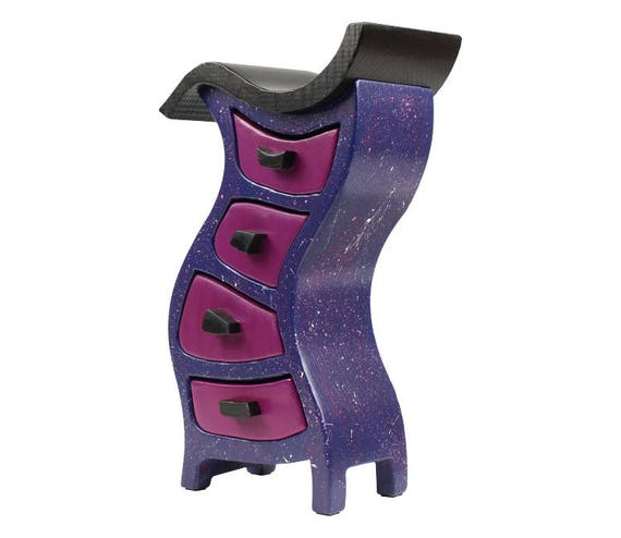 "Galaxy Wooden Jewelry Box, Stained - Paul Szewc, Solid Ash, Hula 291, Pink Top/Black Body 10-1/2""h x 6-1/8""""w x 3-7/8""d"