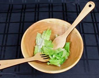 Spoon and Fork, Salad Spoon and Fork, Solid Hardwood Maple Kitchen Utensil, Salad Server, Paul Szewc, Masterpiece Laser