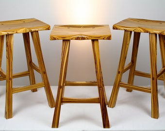 Zebrawood Kitchen Stool Set of 3, Paul Szewc