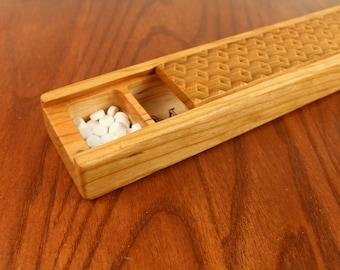JUMBO Weekly Pill Box, Depth Pattern Solid Cherry Hardwood, Paul Szewc, Masterpiece Laser