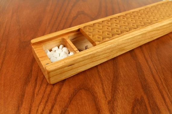 JUMBO Weekly Pill Box, Depth Pattern Solid Cherry Hardwood, Paul Szewc, Masterpiece Laser