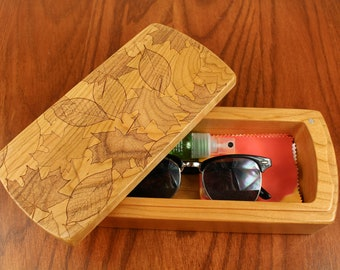 Leaves Pattern Wooden Storage Box, Solid Cherry, Pattern M8 laser engraved, Paul Szewc, Masterpiece Laser