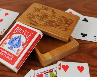 Deck of Cards Box, Joker Storage Box, Card Storage, Card Game Box, All Solid Cherry—Laser Engraved, Paul Szewc