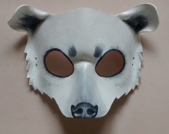 e78850081b5 Polar Bear Leather Mask - Halloween Mask - Masquerade Mask - Animal Costume  - Halloween Costume - Bear Mask - Animal Mask