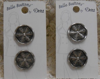 Art Deco Retro Imported from Italy Black and Silver Pearl Loomahat Belle Buttons by Dritz Carded 34 mm 1 38 inch Item #BB1062