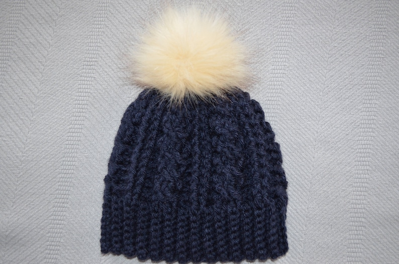 246f9e56855499 Navy Blue Crochet Hat/Beanie with Removable Faux Fur Pom Pom | Etsy