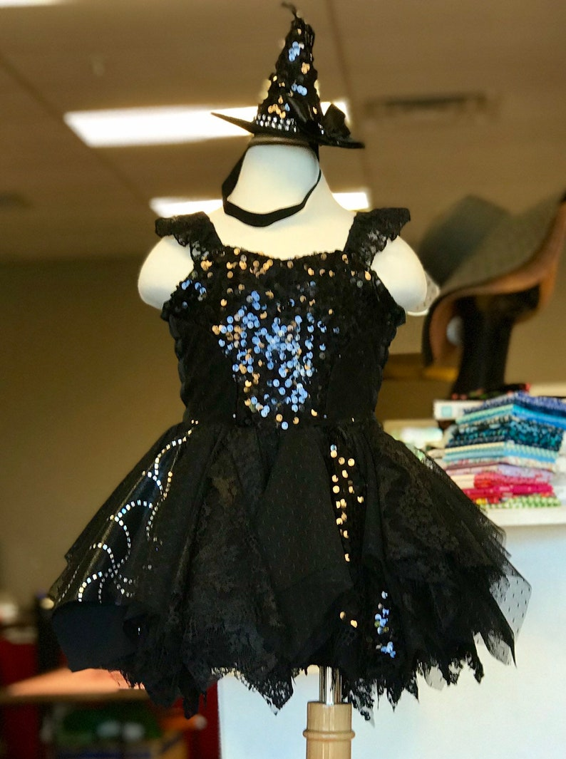 Halloween Costume,Wedding Pageant Wear Pageant Witch Costume Dress and Hat Birthday Dress Pageant Dress OOC FlowerGirl Church Dress