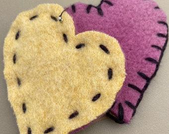 Set of 2 Coasters Felted Wool Upcycled fiber
