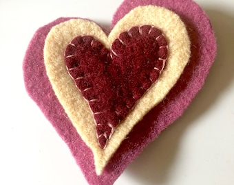 Felted Wool Heart Pin Upcycled fiber