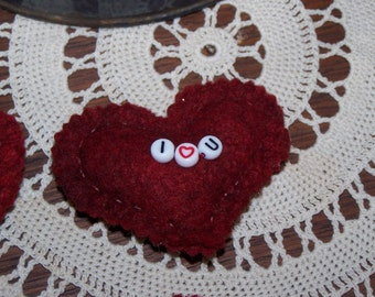 Red Felt Heart Valentine's Day Pin by Darlas Closet Hand Sewn Show Your Love Anytime Gift