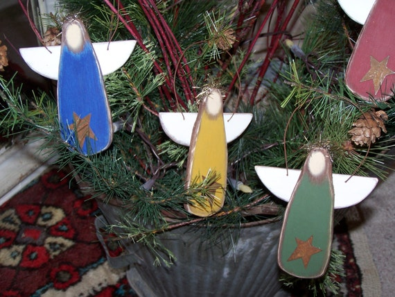 SET//3 Primitive Santa Claus Folk Art Farmhouse Distressed Christmas Holiday Tree