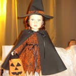 Gothic witch costume with dress, cape & hat for 18 inch Dolls - ag194