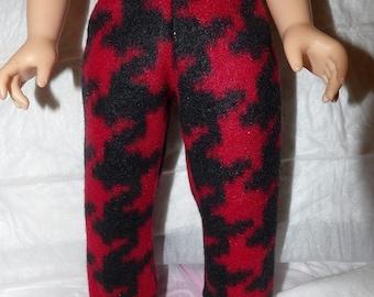 Red & black houndstooth print Fleece leggings for 18 inch dolls - ag289