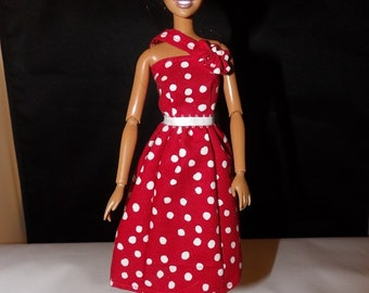 Red & white polka dot dress with flower detail for Fashion Dolls - ed757