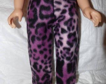 Purple & black Leopard print Fleece leggings for 18 inch dolls - ag314
