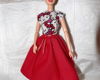 Cartoon Kitty dress with full red skirt for Fashion Dolls - ed932