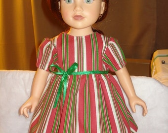 Christmas dress in red, green and white candy cane stripes for 18 inch Dolls - ag113