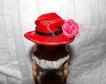 Easter hat in red Satin with ribbon & flower for Fashion Dolls - seh8