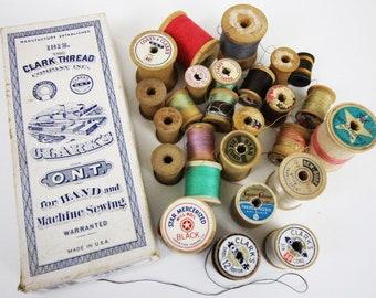 Vintage Wood Spools (lot of 27) and Clark Thread Box