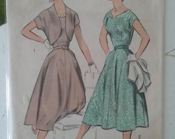 1950's Advance 7937 Sewing Pattern Dress and Bolero Size 16