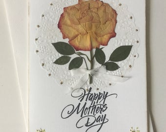 De Lujo 3d Tarjeta hecha a mano Toppers Adornos Mariposa Verdes Rosas Beiges