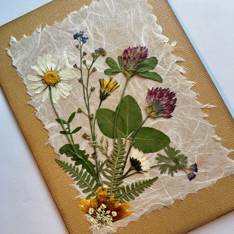 northwest wildflowers card dried pressed flower card boho