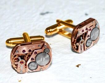 OMEGA Men Steampunk Cufflinks - RARE Large GENUINE Omega Luxury Swiss Vintage Watch Movement Men Steampunk Cufflinks Cuff Links Gift for Him