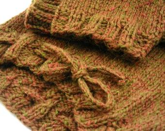 MEDIUM LONG Brown Wool Longies, Hand Knit Diaper Cover, 12 - 24 months, Peace Fleece Yarn, Baba's Sienna Tweed