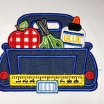 Embroidered & Appliqued boys Back to school, School truck, truck with school supplies, pickup truck, school, personalized