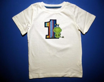 Baby one piece or toddler tshirt - Embroidery and appliqued birthday frog prince