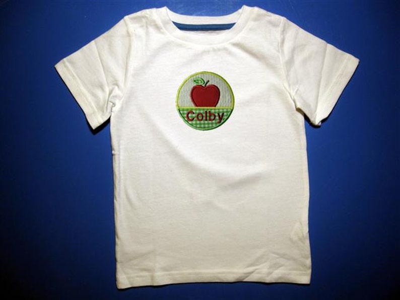 Toddler tshirt  Embroidery and appliqued  girls  & boys Apple image 0