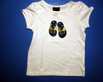Baby one piece or  toddler tshirt - Embroidery and appliqued football  flip flops